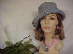 2 piece listing- Powder blue crochet tilt hat and hand crafted necklace and ear ring set