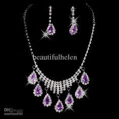 Wholesale Fashion Bridal Jewelry Purple Bridal Wedding Necklace & Earrings Wedding Jewelry Set
