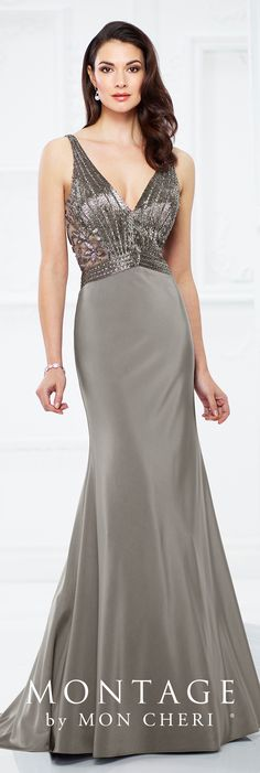 Formal Evening Gowns by Mon Cheri - Fall 2017 - Style No. 217933 - sleeveless gray evening dress with  hand-beaded bodice