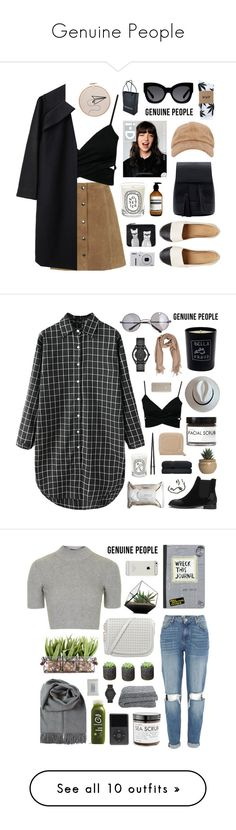 """Genuine People"" by jesicacecillia ❤ liked on Polyvore featuring Genuine_People, A Détacher, HUF, Aesop, Karen Walker, Diptyque, Monki, Nikon, Chanel and Retrò"