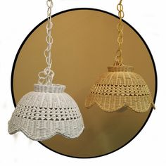 "15"" Hanging Rattan Wicker Lamp"