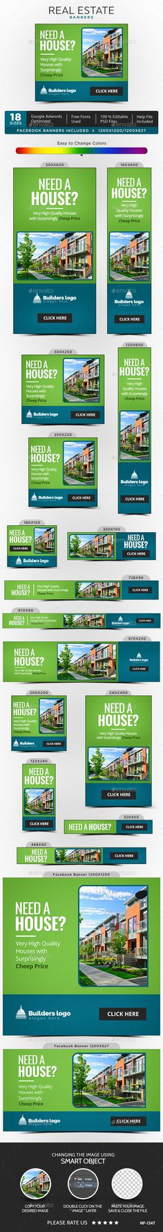 Real Estate Banner Design - Banners & Ads Web Template PSD. Download here: http://graphicriver.net/item/real-estate-banners/16583947?ref=yinkira