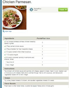 Chicken Parmesan with Couscous. Weight Watchers Simple Start. People who attend meetings lose EIGHT TIMES more weight!