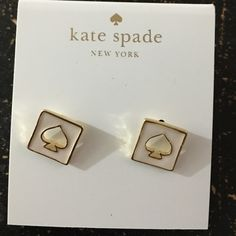 Kate spade white hole spade earrings stud New never used Authentic no dust bag kate spade Jewelry Earrings