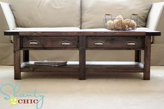 DIY Pottern Barn Inspired Benchwright Coffee Table Here is a modern twist on a classic coffee table than anyone will admire. Best of all you can DIY this one! Door Coffee Tables, Made Coffee Table, Coffee Table Plans, Varathane Wood Stain, Stain Wood, Coffee Table Restoration Hardware, Diy Projects To Make And Sell, Reclaimed Wood Coffee Table, Pottery Barn Inspired