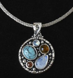 Sterling Silver Gemstone Necklace with Rainbow Moonstone, Tibetan Turquoise, Baltic Amber & Carnelian, handcrafted in Bali by Bluemoonstone Creations.