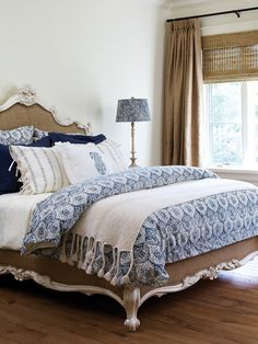 Love the layered look of this bed