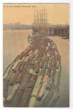 Log Raft Logging Harbor Portland Oregon 1910c Advertising Postcard | eBay