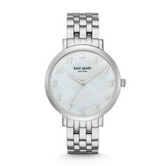 Silver-Tone Monterey Watch This Kate Spade New York watch luxuriously timeless and chic. Showcasing a beautiful stainless steel, five-link bracelet against a luminous mother-of-pearl dial with classic indexes, it'll turn even the most everyday moments into extraordinary ones.