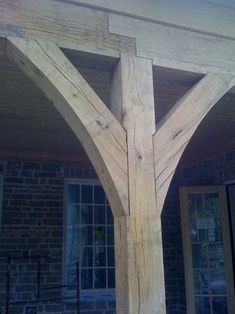 I like the shape of the porch post corbels. This would look good on the porch po. - I like the shape of the porch post corbels. This would look good on the porch posts and would tie i - Porch Posts, Deck Posts, Wood Joints, Decks And Porches, Architecture Details, English Architecture, Revival Architecture, Joinery, Building A House