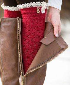 White Plum Red Lace Leg Warmers