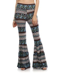 Blue & Black Paisley Ruffle Flare Pants #zulily #zulilyfinds