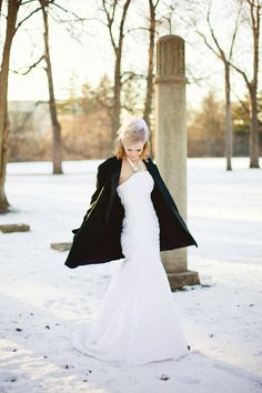 tuxedo jacket over wedding gown. order an extra tuxedo jacket for you to keep you warm during pictures and look cute