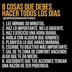 8 cosas que debes hacer todos los días para mejorar. Vie Positive, Positive Mind, Letras Queen, Motivational Phrases, Inspirational Quotes, Spanish Quotes, Life Motivation, Better Life, Self Improvement