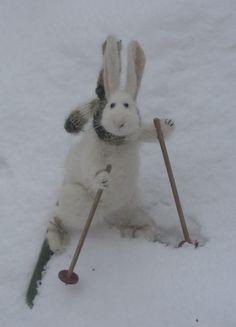 Stuffed Animals by Natasha Fadeeva - skier rabbits
