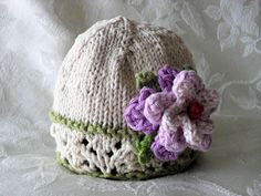 Knitting Pattern for Baby Hat with Lace Brim in by CottonPickings