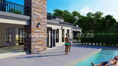 4 Bedroom House Plan - My Building Plans South Africa Tuscan House Plans, My House Plans, Family House Plans, My Building, Building Plans, 4 Bedroom House Plans, Small Bedroom Designs, Open Plan, South Africa