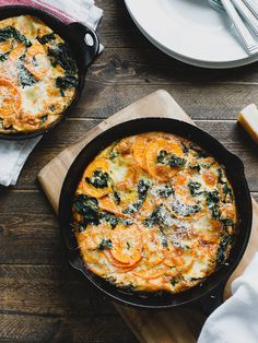 There's nothing simpler than a frittata - and this Spiralized Sweet Potato Kale Egg White Frittata is a light and healthy meal in a skillet.
