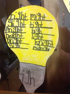 Light bulb for igh words.