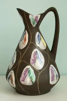 featuring West German art pottery, Fat Lava and more century ceramics Vintage Prints, Retro Vintage, Lucienne Day, Keramik Vase, Bodo, Mid Century Art, Vintage Vases, Pottery Art, Ceramic Art