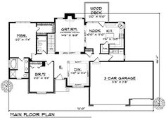 First Floor Plan of Ranch   Traditional   House Plan 73101