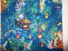 Tinkerbell Fairy Tink Night Forest Fairies Fairy Friends BLUE and GREEN Cotton Fabric Matchs Tinkerbell Fairies Blanket Panel on Etsy, $7.99