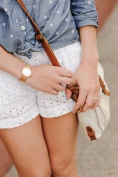 white eyelet shorts + polka dot chambray top