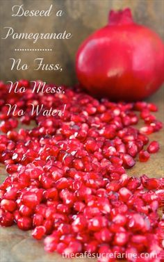 I bought my first pomegranate today. This technique changed my life in regard to pomegranates. I used to think they were a big pain. Not any more! How to de-seed a pomegranate in less than a minute - no fuss, no mess, no water!!