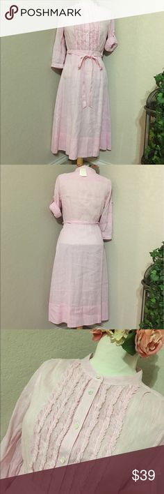 """🌸J. CREW Dress🌸 NWT Mandarin collar with five-button closure 64% Linen and 36% Cotton Ruffled Front for a chic edge 3/4 Sleeves that can be rolled up Half lined Size hidden zipper for easy on and off Machine wash Thin Stripes pink /white  Measurements Bust: 18"""" Across flat Length: 42.5 """"  Waist: 13"""" Hip: 21""""  Sleeves: 17"""" J. Crew Dresses Midi"""