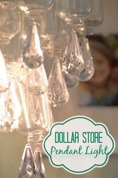 Dollar store supplies are turned into this delicate chandelier.