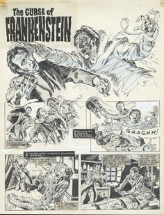 """original art by Alberto Cuyas for """"The Curse of Frankenstein"""" comic adaptation (The House of Hammer #3, 1976)"""