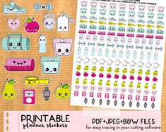 Kawaii Diet Fitness Workout Scale Stickers mix set - Cute Printable Kawaii Planner stickers, print and cut stickers for Happy Planner, Filofax, Erin Condren - PDF, JPEG and Black and white file for easy tracing in Silhouette Stay motivated for your fitness and diet with this set of kawaii stickers : scale, sneaker, weight, kettlebell, bottle of water, sports bag, yoga mat, apple, pear, heart rate watch, music player, tea bag, tape measure... Perfect to decorate all types of planners (Happy…