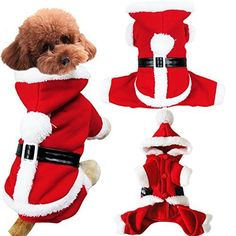 Pet Dog Puppy Teddy Christmas Clothes Santa Claus Costume Fancy Dress Fleece Cold Weather Winter Warm Hooded Sweater Jumpsuit Outfit Outwear Coat Jacket Xmas Apparel Gift for Small Dogs Puppy CatsRed -- Read more  at the image link.Note:It is affiliate link to Amazon.