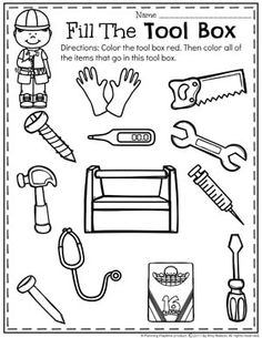 Community Helpers Preschool Theme – Isabel Gonzales Community Helpers Preschool Theme Community Helpers Unit for Preschool – What items go in this tool box sorting worksheet Preschool Learning Activities, Preschool Themes, Preschool Worksheets, Construction Theme Preschool, Space Activities, Community Helpers Worksheets, Community Helpers Crafts, Community Workers, School Community