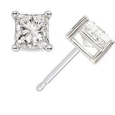 ApplesofGold.com - 1.00 Carat Princess Cut Diamond Stud Earrings in 14K White Gold Jewelry $2,525.00