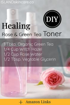 DIY - Healing Rose & Green Tea Toner Try this great recipe if you even wanted to know how to make a Diy Shampoo, Toner For Face, Facial Toner, Hair Toner, Facial Care, Homemade Skin Care, Diy Skin Care, Homemade Toner, Homemade Beauty