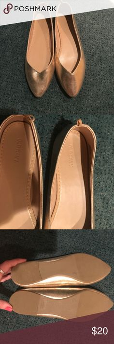 Offers Welcome! Gold Pointed toe Flats Gold flats, worn around the house. Never worn outside. Excellent condition. One small scuff (pictured) on inner side of left shoe. Shoes Flats & Loafers