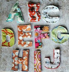 Fabric scrap fridge magnets. (And if you have kiddos, way cuter than the plastic letters!)