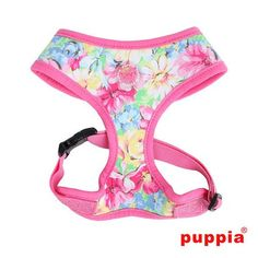 """Puppia """"Spring Garden Floral"""" Choke-Free Halter Harness in Color Pink"""