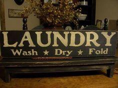 Primitive Laundry Sign Wash Dry Fold by DaisyPatchPrimitives, $16.99