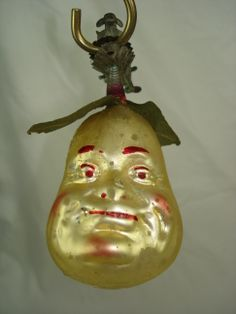 pear with face, clip-on Christmas ornament, German