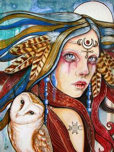 The Moons Daughter-an 8x10 print of the original mixed media painting by Tammy Mae Moon.