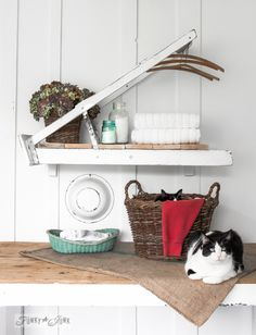 What does a rickety ladder and two cute cats have in common? They landed in a magazine! A ladder laundry room shelf for Country Woman Magazine to be exact! funkyjunkinteriors.net