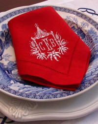 Pagoda monogrammed linen napkins from Bella Lino-www.bellalino.com