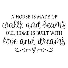 Silhouette Design Store: A House Is Made Of Walls And Beams Sign Quotes, Wall Quotes, House Quotes, Music Quotes, Silhouette Cameo Projects, Silhouette Design, Silhouette Studio, Cricut Vinyl, Vinyl Decals