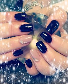 Midnight Affair & Swarovski manicure created by Katie Sibley.