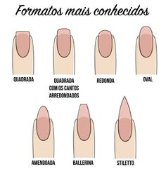 nail shapes, formatos de unhas, nails, unhas