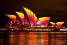 Sidney Opera House designed by Denmark's Jørn Utzon is lit up for the Vivid Festival.