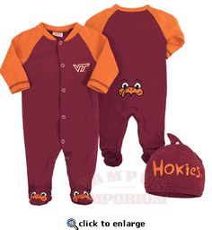 Baby Boys Virginia Tech Hokies Tee Shirt /& Diaper Set