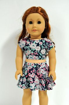 Navy Teal and Coral Floral Skater Skirt and Crop Top 18 inch Doll Clothes fits dolls such as American Girl by CircleCSewing on Etsy https://www.etsy.com/listing/241812572/navy-teal-and-coral-floral-skater-skirt